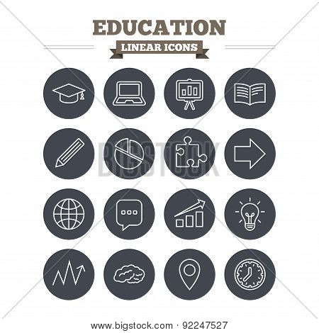 Education linear icons set. Graduation cap, pencil and book symbols. Notebook, presentation and speech bubble thin outline signs. Pie chart, piece of puzzle and arrow. Flat circle vector poster