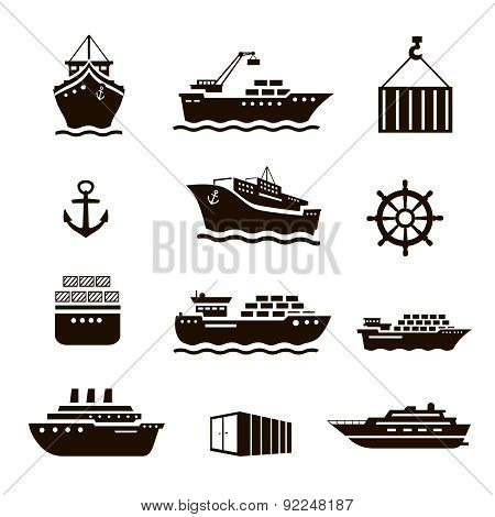 Set of transportation and shipping icons. Container, tanker, cargo.