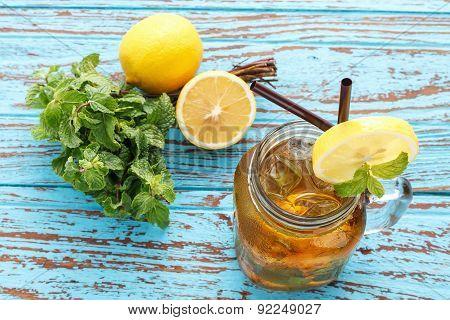 Lemon Tea Mint Fresh Drink Summer Refreshment Still Life