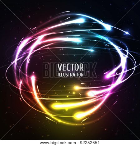 Shining Neon Lights Like Meteors in Sphere. Vector Illustration for artwork, party flyers, posters,