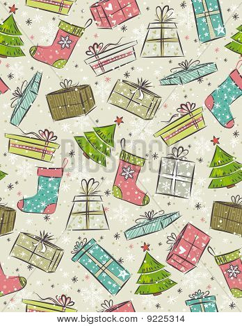 Color Background With Christmas Present , Vector