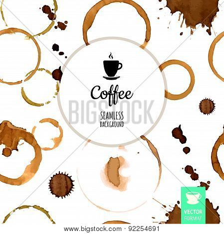 Vector Illustration With Coffee Stain & Drop Isolated On White Background.