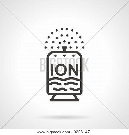 Flat line design ionizer vector icon