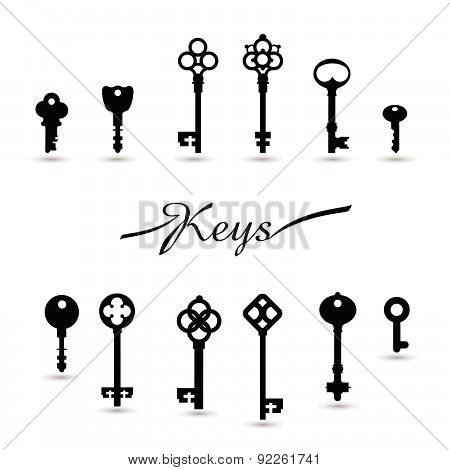 Vector Illustration Of Vintage Keys.