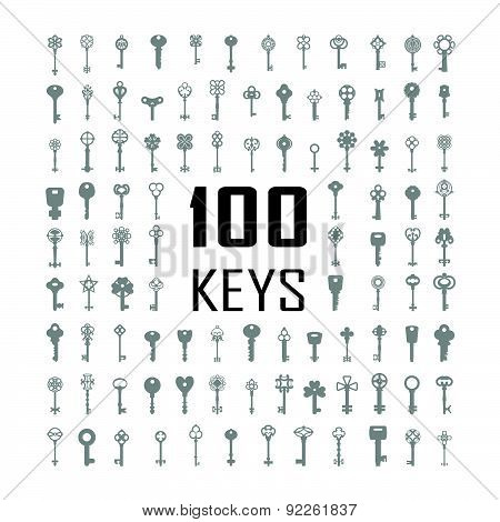 Vector Illustration Of Keys. Big Icon Set.