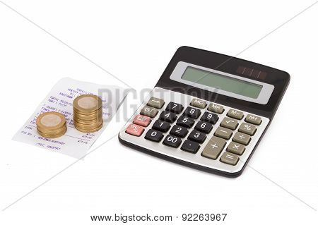 Calculator, Coins And Receipt