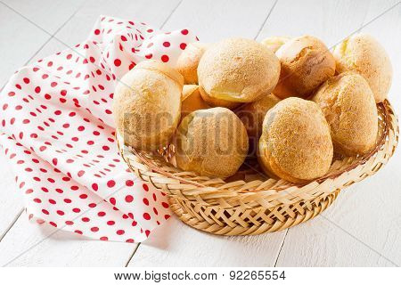Fresh Crusty Popover In The Basket