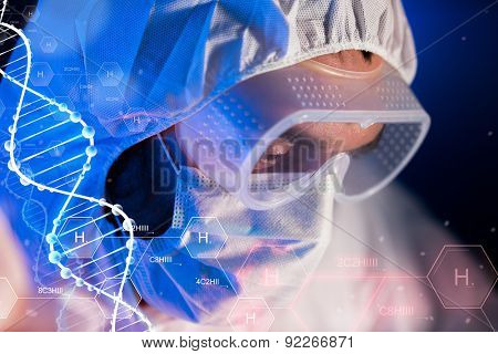 science, chemistry, biology, medicine and people concept - close up of scientist face in goggles and protective mask at chemical laboratory over hydrogen chemical formula and dna molecule structure