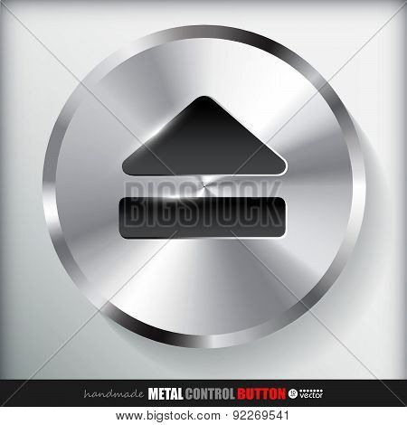Circle realistic Metal surface Eject Button or Control.