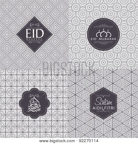 Set of various text on floral seamless pattern for Muslim community festival, Eid Mubarak celebration.