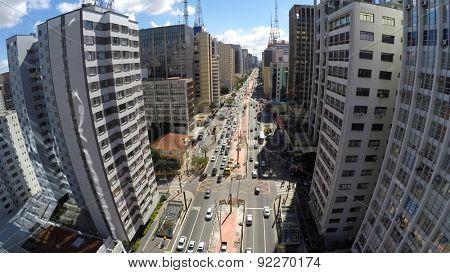 Aerial View of the famous Avenida Paulista (Paulista Avenue) in Sao Paulo, Brazil