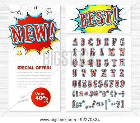 Creative High Detail Comic Font, Templates Banners