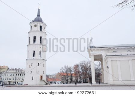 image of a VILNIUS,LITHUANIA, November 17, 2014: The Cathedral Square in Vilnius, Lithuania, Europe