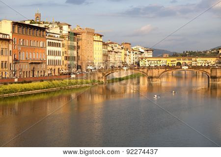 View of Ponte Vecchio over Arno River in Florence, Italy