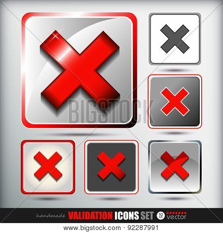Validation icons set of all active states. .Vector Illustration.