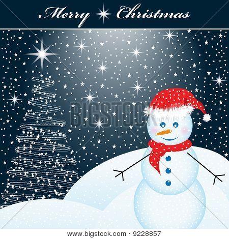 Snowman And Christmas Tree at Night