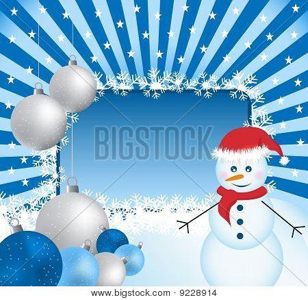 Xmas Balls, Snowman And Sunburst