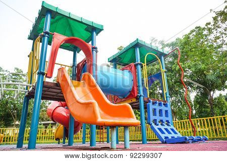 colorful playground in the park for kids
