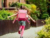little girl with a backpack run  to school. back view poster