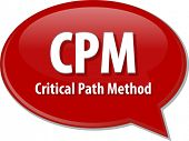 word speech bubble illustration of business acronym term CPM critical path method poster