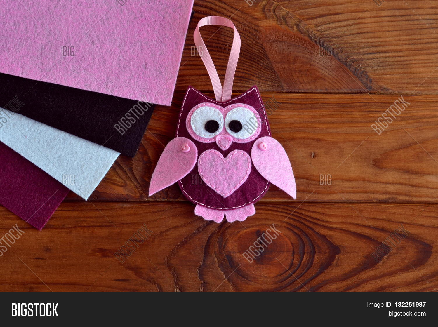 Burgundy Pink Felt Owl Toy. Owl Image & Photo | Bigstock