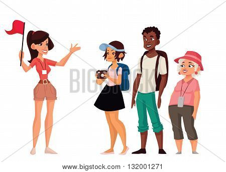 Tour vacation with guide, vector cartoon comic illustration isolated on a white background, a group of tourists listening to the history of the city, exploring attractions in the journey, guide tells