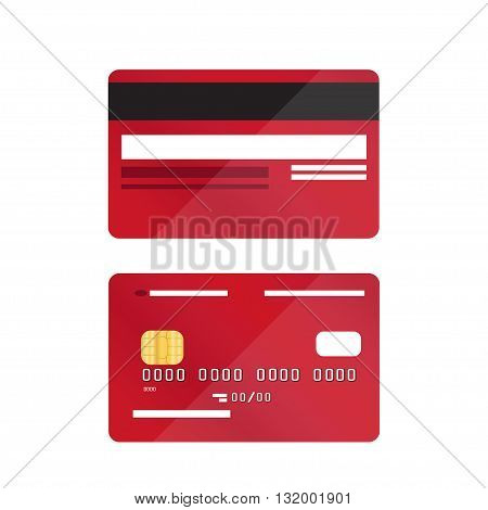 Red credit card close-up, isolated, vector illustration.