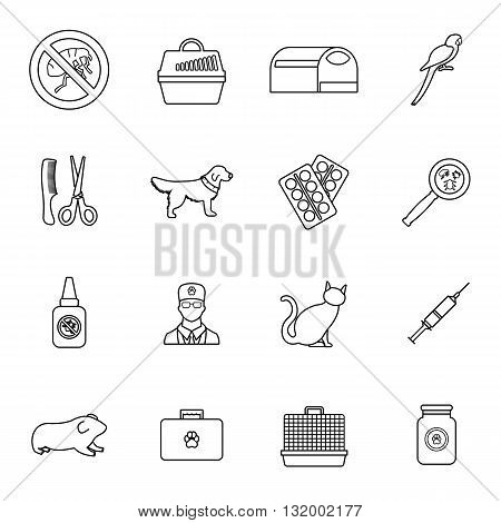 Veterinary icons set in thin line style for any design