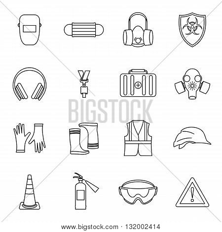 Safety icons set in thin line style for any design