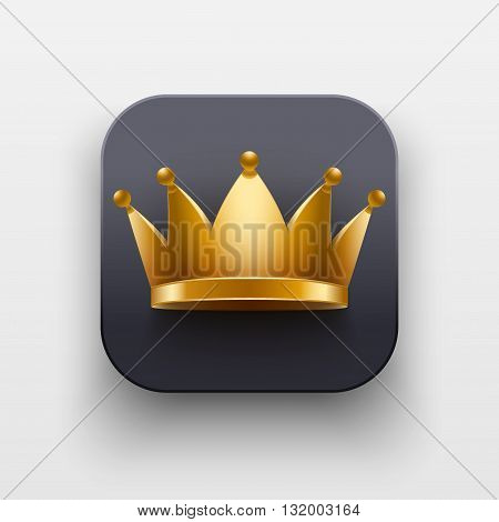 King luxury icon. Luxury Symbol of Crown on dark backdrop with shadow. Vector Illustration Isolated on background