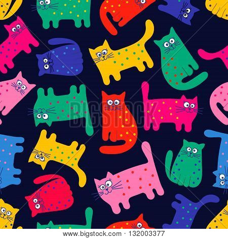 Vector seamless pattern with colorful cats. Funny cats. Cartoon hand drawn pattern for children. Bright colors on black background.