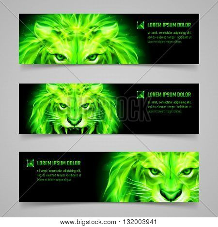 Set of banners with mystic lion in green flame