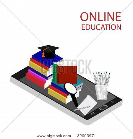 Online education isometric flat vector concept. Flat 3d isometric design. Online training courses retraining specialization tutorials. Vector illustration.