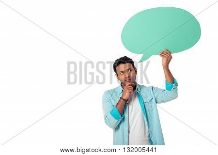 Afro American With Speech Bubble