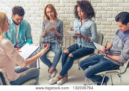 Young People Studying