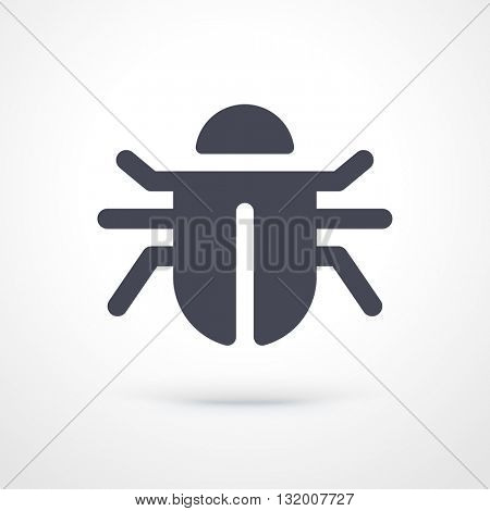 Vector simple bug icon. Computer virus pictogram. Bug fix pictogram. Software bug icon isolated on white background.