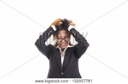 Business asian woman portrait Angry crazy on his workplace isolated on white background.