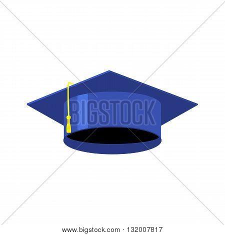 Graduation cap isolated vector illustration graduation cap in flat style blue graduation cap graduation day cap graduation cap icon graduation cap print graduation day sticker graduation day