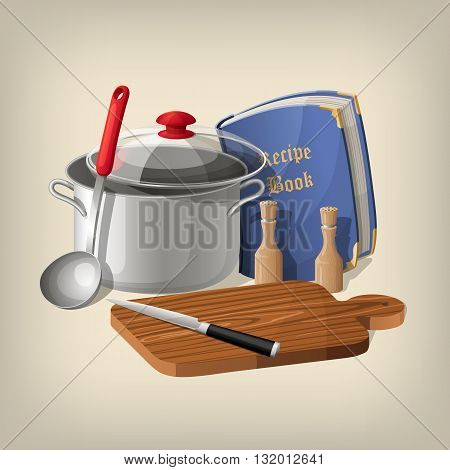 Pan, ladle, recipe book, cutting board and knife. Vector kitchen background.