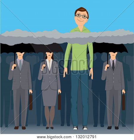 Head in the clouds. A very tall smiling man standing an a crowd of faceless business people under black umbrellas, his head is above the clouds, vector illustration