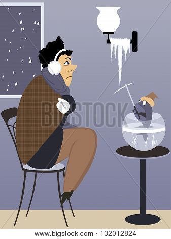 Heating problem. Freezing man and a fish with an ice pick looking at an icicle growing from a lighting fixture in the house, vector illustration