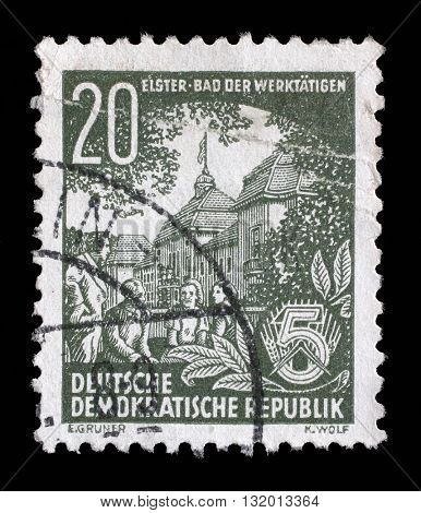 ZAGREB, CROATIA - SEPTEMBER 05: A stamp printed in GDR, shows Bad Elster, spa town of the workers, series Five year plan, circa 1953, on September 05, 2014, Zagreb, Croatia