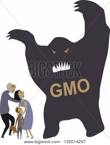People scared of genetically modified organisms, EPS8 vector illustration