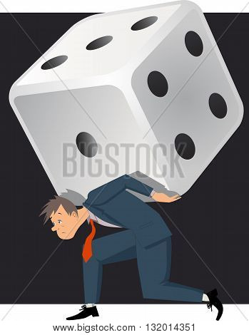 Gambling problem. Depressed man carrying a huge dice, vector illustration, no transparencies