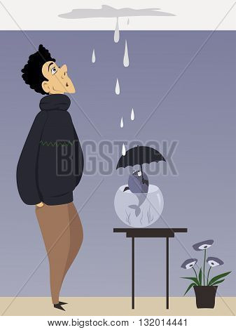 Man and a fish with umbrella looking at a ceiling leak