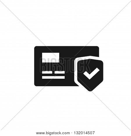 Credit card protection icon secure payment sign credit card with shield and green check mark flat black and white pictogram design isolated on white background