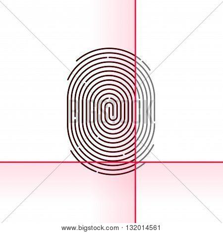 Fingerprint scan vector illustration isolated on white background electronic scanner flat linear outline concept design