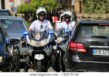 Monte-Carlo Monaco - May 28 2016: Police Motorcyclists Escort of the Prince of Monaco during the Monaco Formula 1 Grand Prix 2016
