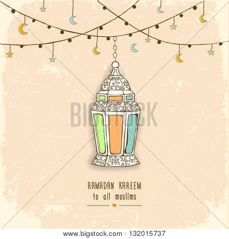 Eid Mubarak Background Arabic lantern. Vector illustration