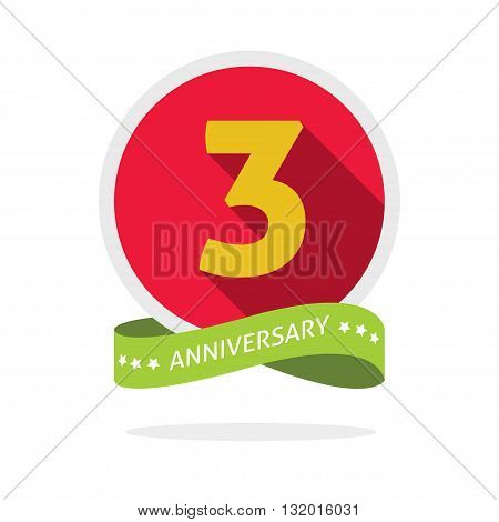 Anniversary 3rd logo template with a shadow on red circle and yellow number 3 three. 3 years anniversary icon. Three years symbol second promotion sticker ribbon vector emblem